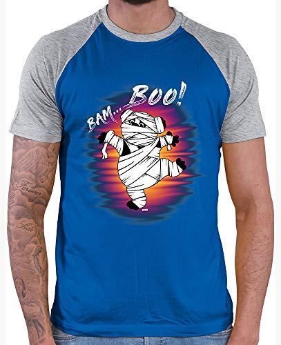 ll Shirt Bam Boo Pandabär Mumie Halloween Kostüm Horror Umhang Inkl. Geschenk Karte Royal Blue/Grey Melange XXL ()
