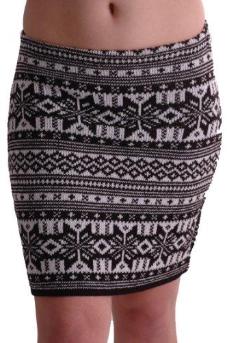 EyeCatchClothing - Damen warmer Strick stretch Rock im Azteken Design Einheitsgröße Schwarz (Banded Kleid Mädchen)