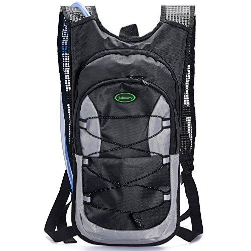 juboury --–Mochila de hidratación Mochila de hidratación bolsa incluye vejiga de agua 2L para correr, senderismo, ciclismo, y para todos los otros deportes al aire libre que necesita agua, negro