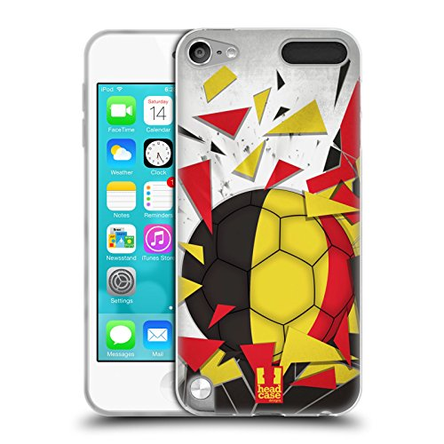 Head Case Designs Belgien Fussball Glassplitter Soft Gel Hülle für Apple iPod Touch 5G 5th Gen (Case 5 Touch Ipod Gel)