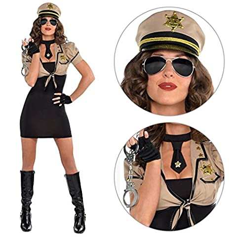 UK 10-12 Adults Womens Sheriff Police Officer Fancy Dress Costume + Hat and Glovettes
