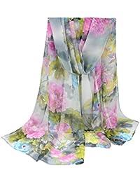 COMVIP Mujeres Larga floral suave Georgette fino Scarve mantón del abrigo