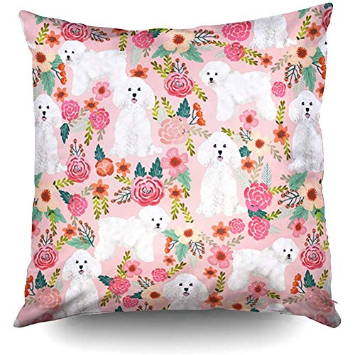 Zierkissenbezüge, Throw Pillow Covers, Bichon Frise Floral Dog Throw Pillow Case 18X18Inch,Home Decoration Pillowcase Zippered Pillow Covers Cushion Cover with Words for Book Lover Worm Sofa Couch