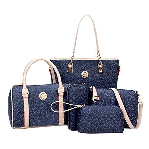 Di Grazia Women\'s 5 in 1 Combo Of Shoulder Bag, Satchel, Clutch, Wallet & Handbag (Blue ,Blue-5in1-Combo-Bag)
