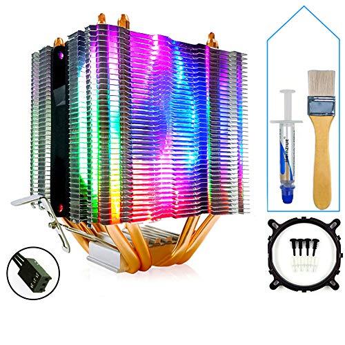 CPU Kühler Kühler Helle und leise 4-Kupferrohr Single Fan 3Pin-Schnittstelle Kompatibel mit Intel AMD Dual-Plattform