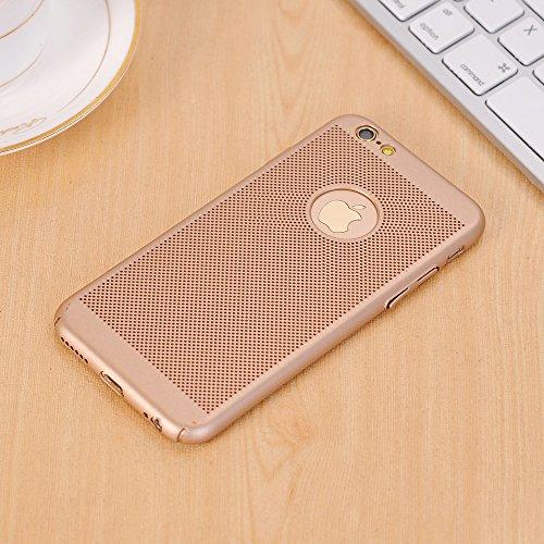 Pour Apple IPhone 6 et 6s Case Solid Color Metal Aluminium Alliage Mesh Case Ultra Thin Slim Léger Dissipation de chaleur Couverture arrière ( Color : Red ) Gold