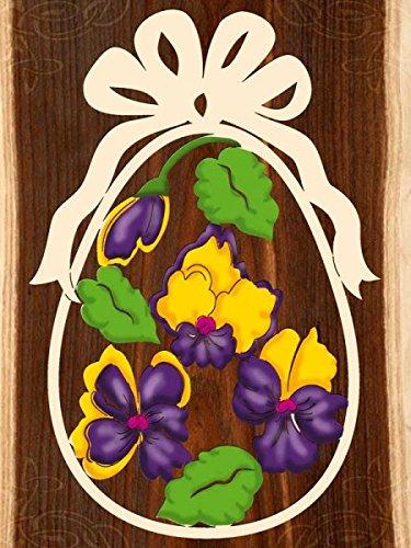 Fensterbild Ostern Stiefmütterchen - Ei - beidseitig coloriert - Holz ca. 23cm