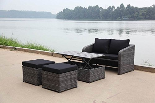 Loungeset 'Tada' Sofa Hocker Tisch Balkonset Loungemöbel inkl Polster grau schwarz