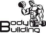GRAZDesign 660136_57_070 Wandtattoo Bodybuilding | Sportlicher Wandsticker für Sportraum | Aufkleber in 47 Farben (78x57cm//070 Schwarz)