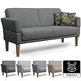 Cavadore 3er Sofa Femarn / Küchensofa für Küche, Esszimmer / Couch für Esszimmer / Maße: 190 x 98 x 81 cm (BxHxT) / Farbe: Grau (dunkelgrau/grau) / Echtholzfüße in Buche natur