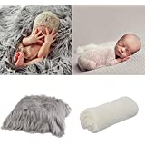 Fascigirl Baby Photography Wrap, 2 Pcs Baby Photo Prop Long Hair Newborn Photo Blanket Shaggy Area Rug With Ripple Wrap