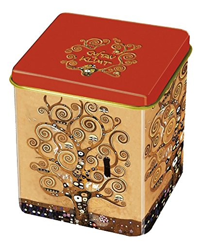 Fridolin 19312Klimt Caja de Metal té con Dibujo del árbol de la Vida, 8 x 6,8 x 6,8 cm