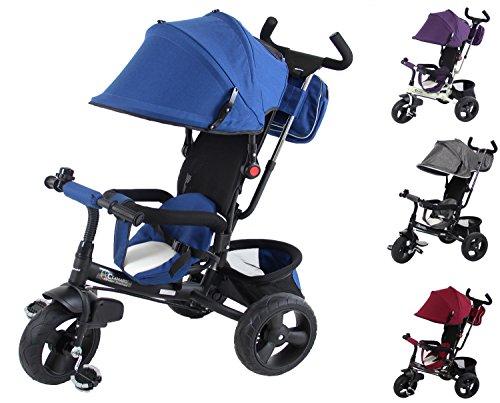 Clamaro 'Buttler GT' schwarz/navy blau - 4in1 Kinderwagen Dreirad ab 1 Jahr mit lenkbarer Schubstange, flüsterleise Gummireifen und Sonnendach, Kinderdreirad durch 4-fach Umbau für Kinder ab ca. 1 - 5 Jahre geeignet - Farbe: Schwarz/Navy Blau