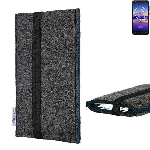 flat.design Handyhülle Lagoa für Alcatel U5 HD Single SIM | Farbe: anthrazit/blau | Smartphone-Tasche aus Filz | Handy Schutzhülle| Handytasche Made in Germany