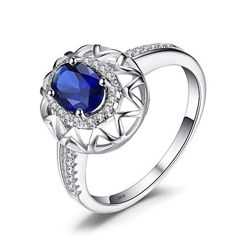 Jewelrypalace 0.82CT Bijoux Bague en Zircon Cubique et Saphir de Synthèse en Argent 925 pour Femme
