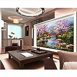 Meaosy Carta Da Parati Personalizzata Carta Da Parati Europea Ponte In Legno Stagno Paesaggio Decorazione Moderna Casa 3D Wallpaper-400X280cm