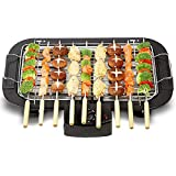 Portable Electric Smokeless Barbecue 2000W High Power Grill Indoor BBQ Grilling Table with 5 Adjustable Temperature fit Home