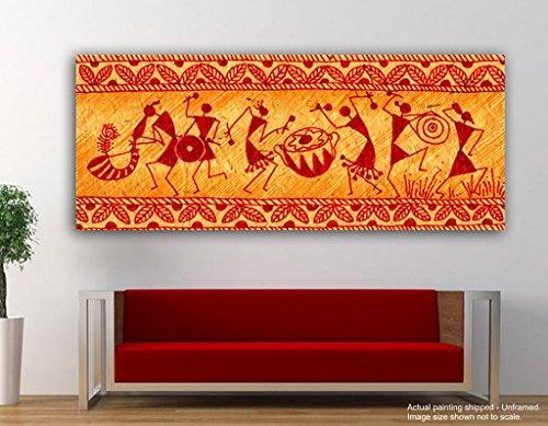 JunkYard Canvas Painting - Warli Art Fusion - Tirbal Art - Modern Art  available at amazon for Rs.348