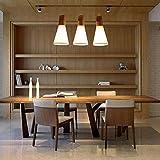 AMA Gbyzhmh Simple Moderne E27 de Trois des lumières du Restaurant Inflorescences 'Smchandelier Lustres en Bois Massif Boutique Magasin de vêtements Connectez-Vous Nordic LED 480 * 600Mm A ++,Blanc-3