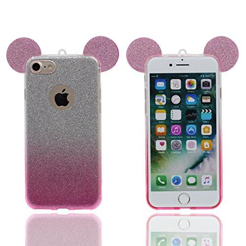 """iPhone 6 Plus 5.5"""" Coque Case, Housse de Protection pour iPhone 6S Plus Mince Style Souple TPU Transparente Dessin animé Mignon Oreille Changement gradual Bling poudre Désign Mode Luxe Rose"""