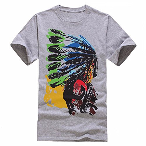 Men's American Indian Swag Printed Fashion Cotton Short Sleeve Tee Shirt gray