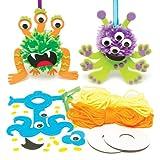 Pompon-Bastelset Außerirdische in 3 Verschiedenen Designs – Kreatives Bastelset für Kinder Zum Gestalten, Dekorieren und Spielen (3 Stück)