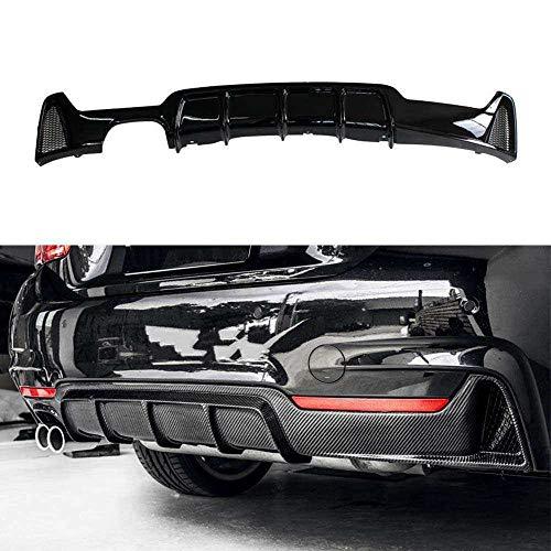10JQK Geeignet für 4 Serie F32F33 Sport-Modelle, Einzelseite Doppelauspuffhecklippe Heckstoßstange Auto Modifizierte Spoiler,Black