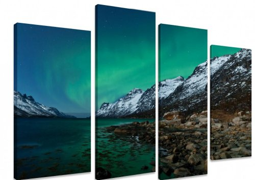 picture-multi-split-panel-canvas-artwork-art-aurora-borealis-in-norway-with-reflection-snowy-mountai