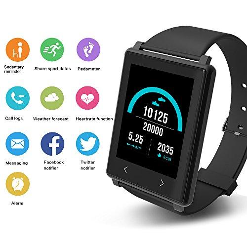 YUNTAB Z8 Smart bracelet Connecté Smartband G-Sensor Sport fitness Podomètre Sommeil Rythme fréquence Cardiaque Message ou Appel pour Smartphone Android et Apple iOS iPhone bluetooth-noir