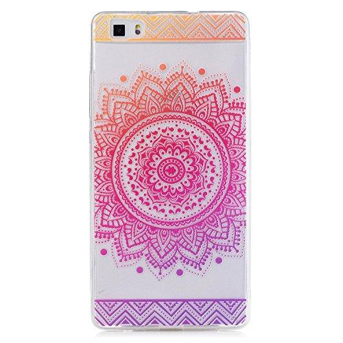 Pour Huawei P8 Lite Case Cover, Ecoway TPU Clear Soft Silicone motifs peints Housse en silicone Housse de protection Housse pour téléphone portable pour Huawei P8 Lite - Fleur rouge Rose Mandala