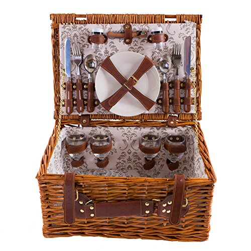 Picknick Korb komplett Porzellan Geschirr 4 Personen Weidenkorb Picknickkorb Weidenholz Weidenpicknickkorb Picknickset (LYP1801, Beige)