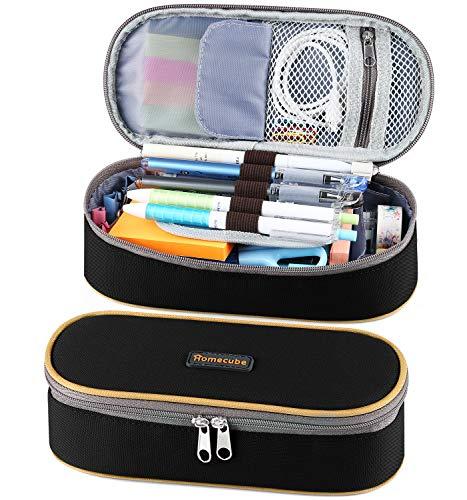 Homecube astuccio portamatite, spazioso, per cancelleria di studenti, colore: nero
