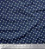 Soimoi Blau Seide Stoff Storch Vogel Hemdenstoff Stoff