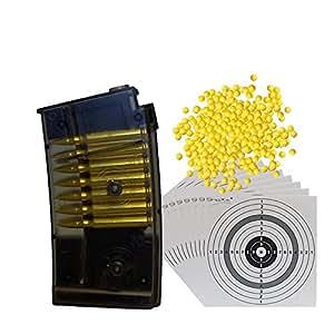 Magazin für Umarex RS2, BGS-M82 und Bombermann Softair Gewehre 6 mm + 10 ShoXx.® shoot-club Zielscheiben + 1000 ShoXx.® Softair BB 0,12 Gramm