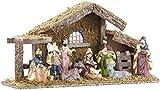 Britesta Krippe: Hochwertige Holz-Weihnachtskrippe, gro�e handbemalte Porzellan-Figuren (Weihnachts-Krippe)