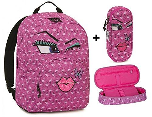 Zaino invicta - ollie pack face + astuccio portapenne lip face - fuxia fantasy bacio - tasca porta pc padded - americano 25 lt