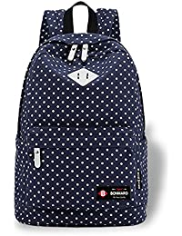 9ee94cc7a0d Bonmaro Polka Dot Navy Blue Water-Resistant Casual School College Backpack  for Girls