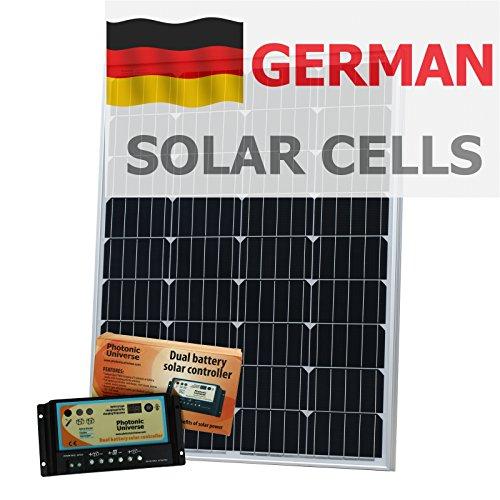 100W 12V Photonic Universe Dual Akku Solar Ladekabel Kit aus Deutsche Solar Zellen, mit 10A Ladereglern und 5m Kabel 110w Solar-kit
