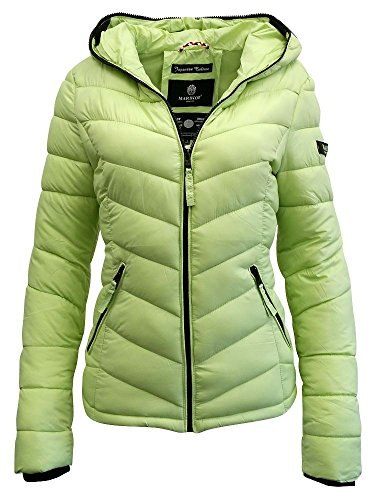 Marikoo Damen Übergangs- Jacke Steppjacke KualaL6 Kapuze light green II S (Quilted Bubble Jacket)