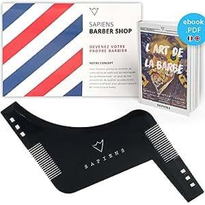 Peigne Pochoir Barbe Homme par Sapiens - Accessoire de Rasage et d'Entretien de Contour de Barbe + Guide d'Utilisation Imprimé + Ebook Offert