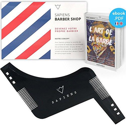 Peine Plantilla Guía Barba de Sapiens : Accesorio de Afeitado y Cuidado de Contorno de Barba Hombre + Ebook en inglés ofrecido