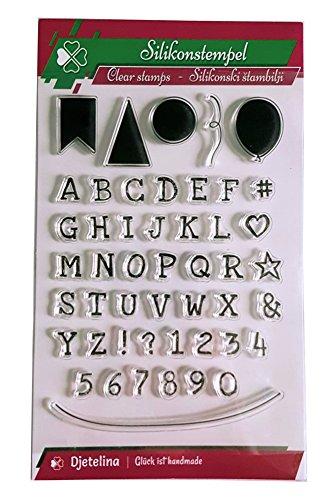 tempel 48 Silikonstempel, Buchstaben, Zahlen, Luftballons, Wimpel & Schüre zum Scrapbooken & Gruß-Karten basteln ()