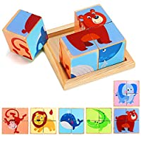 Lewo 6 in 1 Wooden Animal Block Puzzle Big Cube Elephant Monkey Fish Bear Lion Crocodile patterns blocks with Wood Storage Tray for toddlers boys girls 3 4 5 years old