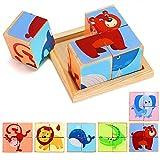 Lewo 6 in 1 Hölzerner Tierblock Puzzle Groß Würfel Elefant AFFE Fisch Bär Löwe Krokodil Musterblöcke mit Holzablage für Kleinkinder Jungen Mädchen 2 3 4 Jahre alt (Farbe 1)