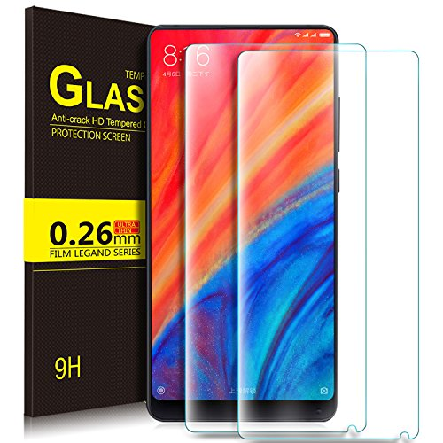 Xiaomi Mi MIX 2s Schutzfolie, KuGi 9H Panzerglas Hartglas Glas [Blasenfrei] [HD Ultra] [Anti-Kratzer] Bildschirmschutzfolie Bildschirmschutz Für Xiaomi Mi MIX 2s smartphone. Klar [2 PACK]
