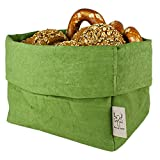 bun-di Swiss - KREMPELBOX XL | Großer Brotkorb, Paper-Bag, Utensilo, Deko-Übertopf, Geschenkbox | Waschbares Papyr mit Lederoptik (Veganes Leder) | Ø 20cm (Olive)