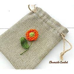 broche flor de botón de oro, flor de margarita naranja en ganchillo