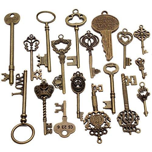 Zeuxs 18PCS antico vintage vecchia chiave sguardo scheletro ciondolo cuore Bow blocco Steampunk UK