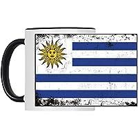Bandera de Uruguay retro colour blanco de la copa