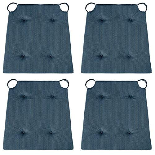 sleepling 4er Set Stuhlkissen/Sitzkissen für Indoor und Outdoor, Maße: 42 (vorne) / 35 (hinten) x 40 x 5 cm, dunkelblau